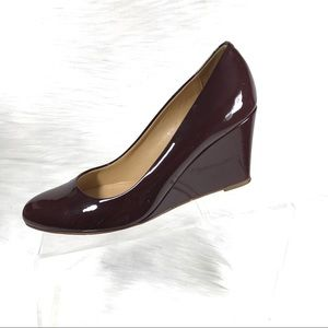 J.Crew Wedges Brown Patent Leather Size 8 Italy